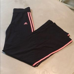Adidas Black with 3 Pink Stripes Athletic Pants